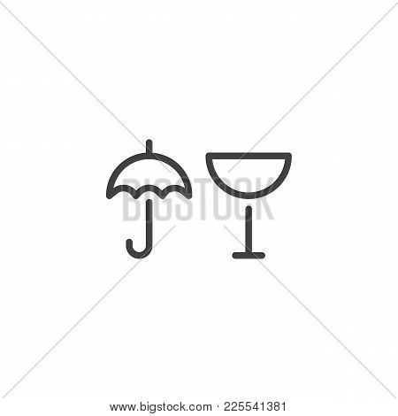 Package Handling Labels Line Icon, Outline Vector Sign, Linear Style Pictogram Isolated On White. Gl