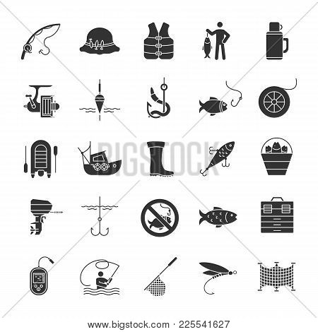 Fishing Glyph Icons Set. Angling Equipment. Fish, Bait, Hook, Tackle, Boat, Rod, Fisherman, Thermos,