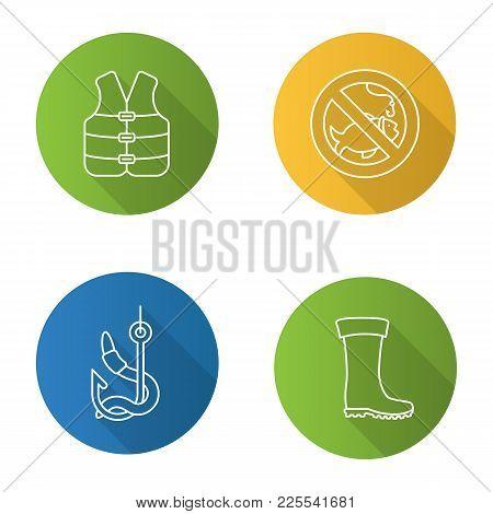 Fishing Flat Linear Long Shadow Icons Set. Life Jacket, Bait, Rubber Boot, No Fishing Sign. Vector O