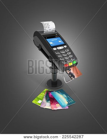 Card Payment Terminal Pos Terminal With Credit Cards And Receipt Isolated On Black Gradient Backgrou