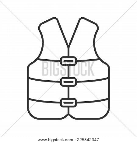 Life Jacket Linear Icon. Boating Life Vest. Contour Symbol. Vector Isolated Outline Drawing