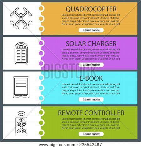 Gadgets Web Banner Templates Set. Quadrocopter, Solar Charger, E-book, Remote Controller. Website Co