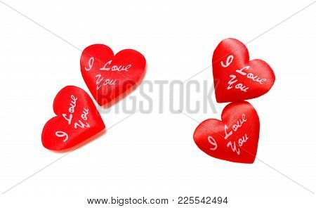 Pair Of Bright Red Hearts On White Background. Horizontal Photo.