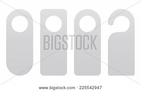 Set Of Door Hangers Isolated On White Background. Door Hanger Mockup. Vector Illustration