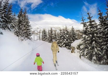 Mother And Daughter Skiing In Forest. Back View. Bright Sunny Winter Day. End Of Winter Vacation Con
