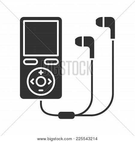 Mp3 Player Glyph Icon. Silhouette Symbol. Negative Space. Vector Isolated Illustration