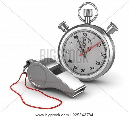 Whistle And Stopwatch , This Is A 3d Rendered Computer Generated Image. Isolated On White.