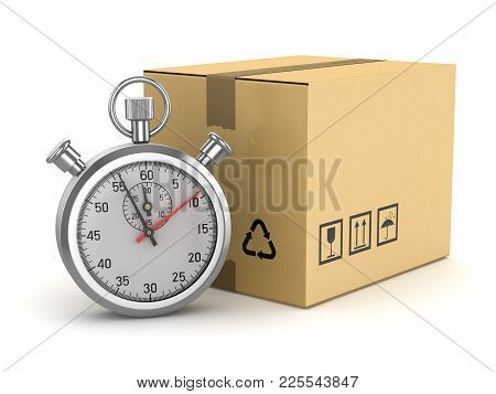 Classic Stopwatch And Cardboard , This Is A 3d Rendered Computer Generated Image. Isolated On White.