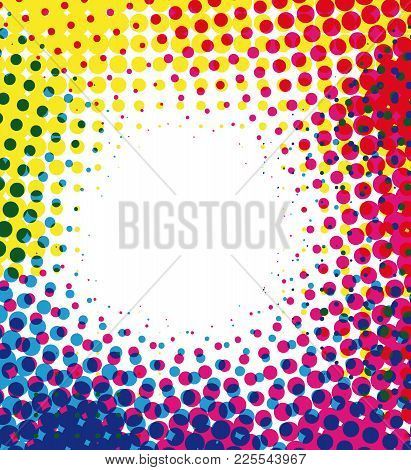 Colorful Halftone Dots Marketing Vector Background With Blank Space.