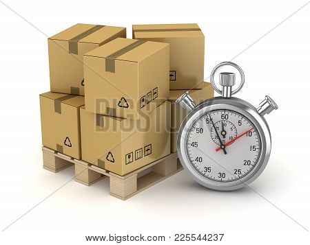 Cardboard On Pallet And Stopwatch , This Is A 3d Rendered Computer Generated Image. Isolated On Whit