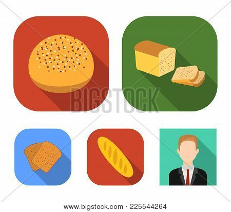 Half A Loaf, A Loaf Of Rifle, Toast, A Burger For A Hamburger.bread Set Collection Icons In Flat Sty