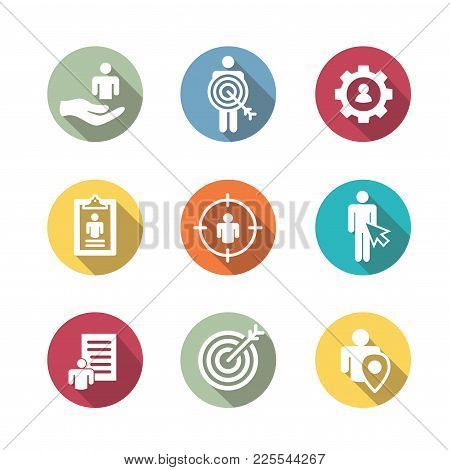Target market icons of buyer image and persona  w gear, arrow, nurturing leads poster
