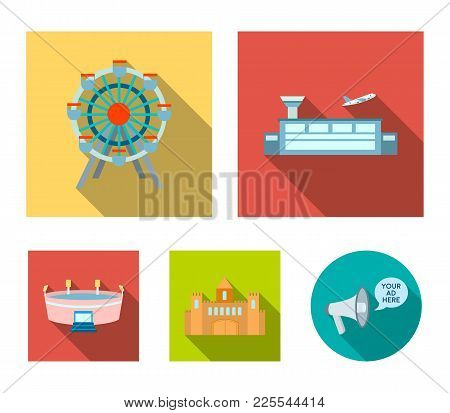 Airport, Ferris Wheel, Stadium, Castle.building Set Collection Icons In Flat Style Vector Symbol Sto