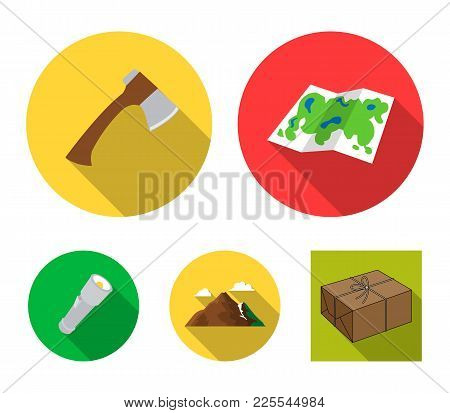 Map Of The Area, An Ax, A Flashlight, Mountains With Clouds.camping Set Collection Icons In Flat Sty