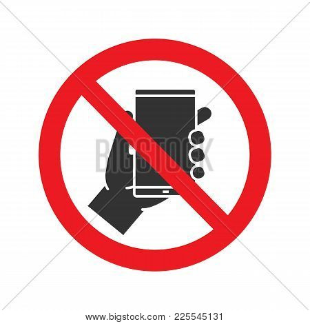 Forbidden Sign With Mobile Phone Glyph Icon. No Smartphone Prohibition. Stop Silhouette Symbol. Nega