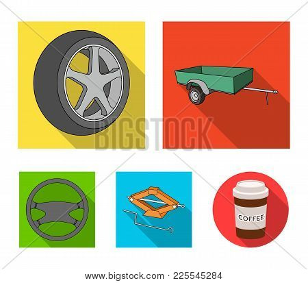 Caravan, Wheel With Tire Cover, Mechanical Jack, Steering Wheel, Car Set Collection Icons In Flat St