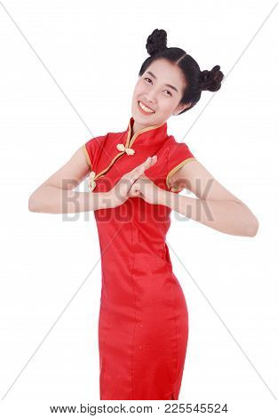 Woman Wear Red Cheongsam With Gesture Of Congratulation In Concept Of Happy Chinese New Year Isolate