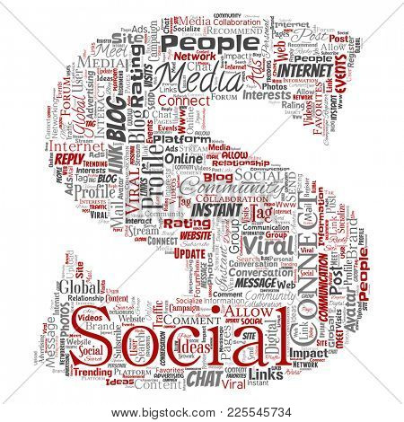 Conceptual social media networking or communication web marketing technology letter font S word cloud isolated on background. A tagcloud for global community worldwide concept or advertising