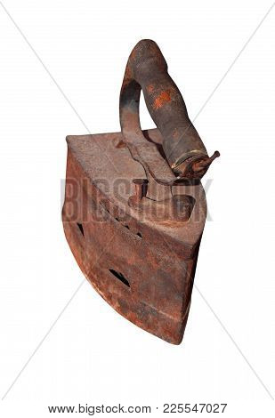 Rusty Antique Charcoal Iron, Isolated On White Background