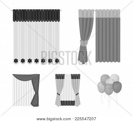 Curtains, Drapes, Garters, And Other  Icon In Monochrome Style. Textiles, Furniture, Bow Icons In Se