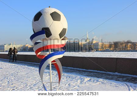St. Petersburg, Russia - February 1, 2018: Football Fifa World Cup 2018 Symbol. Soccer Ball And Ribb