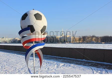 St. Petersburg, Russia - January 31, 2018: Football Figure Symbol Of Fifa World Cup 2018. Soccer Bal