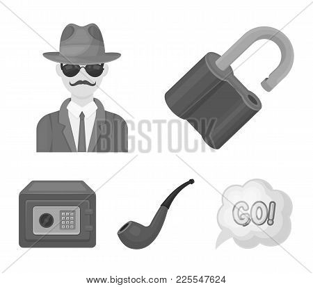 Lock Hacked, Safe, Smoking Pipe, Private Detective.detective Set Collection Icons In Monochrome Styl