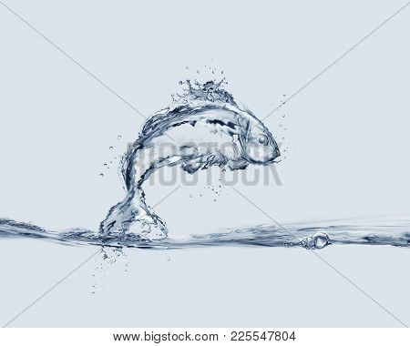 A Fish Made Of Water Jumping Into Water.
