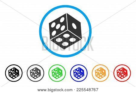 Dice Icon. Vector Illustration Style Is A Flat Iconic Dice Black Symbol With Gray, Yellow, Green, Bl