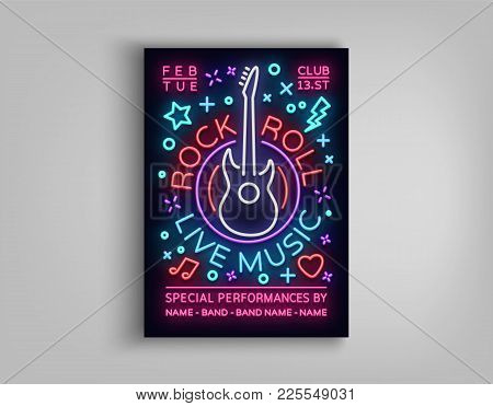 Rock N Roll Live Music. Typography, Poster In Neon Style, Neon Sign, Brochure, Flyer Design Template