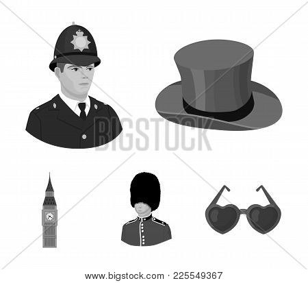 England, Gentleman, Hat, Officer .england Country Set Collection Icons In Monochrome Style Vector Sy