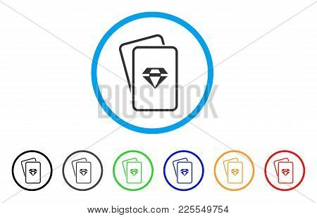 Ruby Gambling Cards Icon. Vector Illustration Style Is A Flat Iconic Ruby Gambling Cards Black Symbo