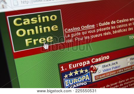 Cleckheaton, West Yorkshire, Uk: Website On Computer Screen Showing Online Casino Gambling, 3rd Marc