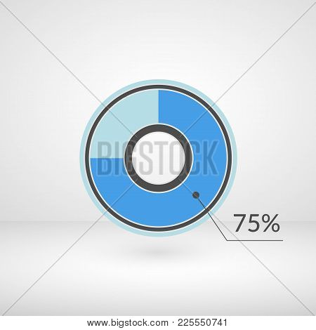 75 Percent Pie Chart Isolated Symbol. Percentage Vector Infographics. Circle Diagram Sign. Business