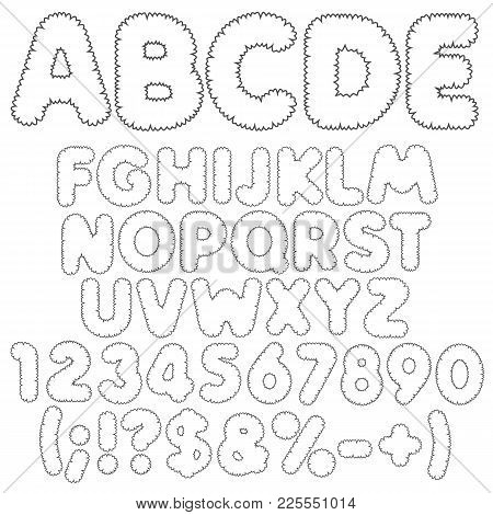 Shaggy Alphabet, Letters, Numbers And Signs. Isolated Vector Objects On White Background.