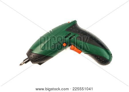Electronic Screwdriver On White Background. Cordless Tool For For Drilling Holes And Tightening Scre