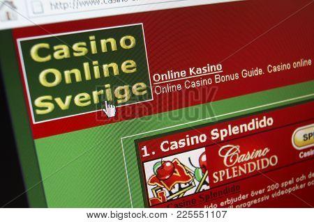 Cleckheaton, West Yorkshire, Uk: Website On Computer Screen Showing Swedish Online Casino Gambling,