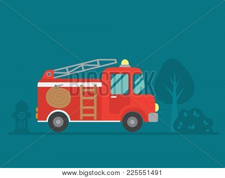 Vector Illustration Of A Red Fire Truck