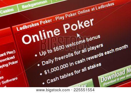 Cleckheaton, West Yorkshire, Uk: Website On Computer Screen Showing Online Poker Casino Gambling, 3r