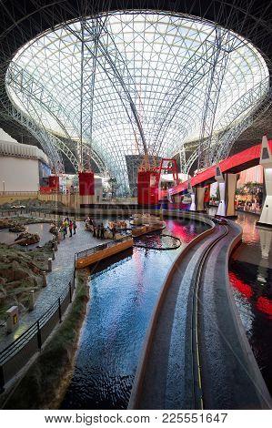 Abu Dhabi, United Arab Emirates - 03 Jan, 2018: Interior Of Indoor Amusement Park Ferrari World. It