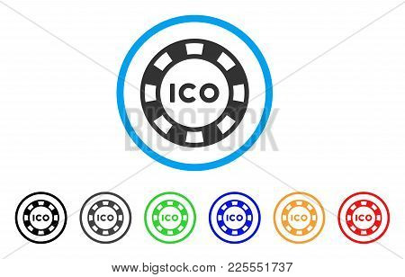 Ico Token Icon. Vector Illustration Style Is A Flat Iconic Ico Token Black Symbol With Gray, Yellow,
