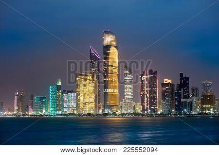 Skyline Of Abu Dhabi In The Twilight