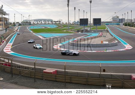Abu Dhabi, United Arab Emirates - 04 Jan, 2018: Corner Number 7 On The Yasmina Circuit As Seen From