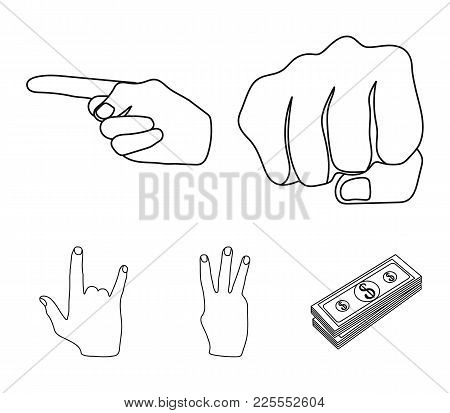 Closed Fist, Index, And Other Gestures. Hand Gestures Set Collection Icons In Outline Style Vector S