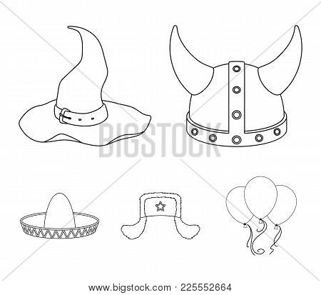 Sombrero, Hat With Ear-flaps, Helmet Of The Viking.hats Set Collection Icons In Outline Style Vector