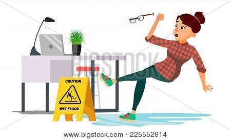 Woman Slips On Wet Floor Vector. Modern Business Woman In Office. Danger Situation. In Action. Clean
