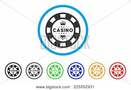 Royal Casino Chip Icon. Vector Illustration Style Is A Flat Iconic Royal Casino Chip Black Symbol Wi