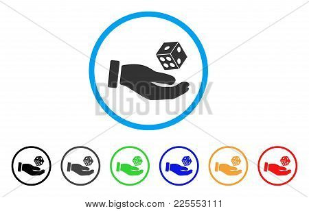 Hand Play Dice Icon. Vector Illustration Style Is A Flat Iconic Hand Play Dice Black Symbol With Gre