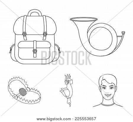Horn, Game In Hand, Backpack With Things, Steel Cap.hunting Set Collection Icons In Outline Style Ve