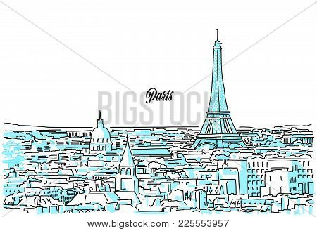 Paris Cityscape Sketch. Hand Drawn Vector Illustration. Business Travel And Tourism Concept With Mod